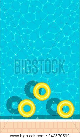 Summer Pool Party Banner With Space For Text. Yellow Pool Float, Ring Floating In A Refreshing Blue