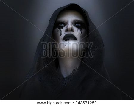 3d Rendering Of A Female Death Angel Or Demon Wearing A Black Hood And Looking Up. Dark Background.
