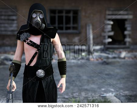 3d Rendering Of A Man Wearing A Gas Mask And Holding A Rifle In A Futuristic Dystopian World. Ruined