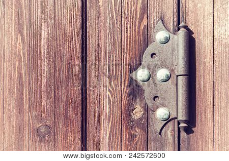 Wooden Weathered Door With Old Metal Door Hinge, Architecture Background With Vintage Architecture D