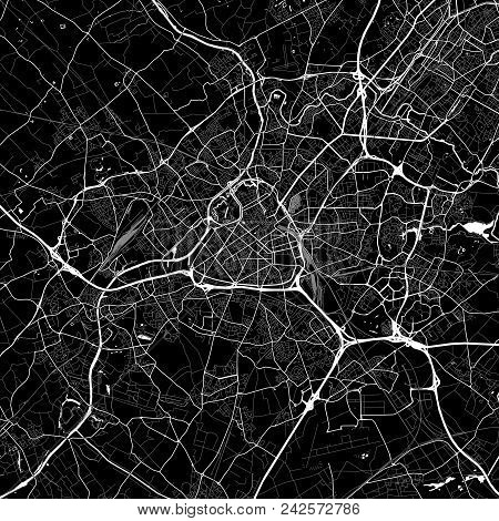 Area Map Of Lille, France. Dark Background Version For Infographic And Marketing Projects. This Map