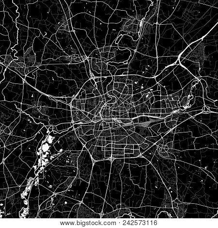 Area Map Of Rennes, France. Dark Background Version For Infographic And Marketing Projects. This Map