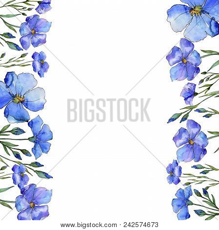 Blue Flax. Floral Botanical Flower. Frame Border Ornament Square. Aquarelle Wildflower For Backgroun