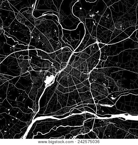 Area Map Of Angers, France. Dark Background Version For Infographic And Marketing Projects. This Map