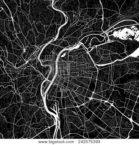 Area Map Of Villeurbanne, France. Dark Background Version For Infographic And Marketing Projects. Th