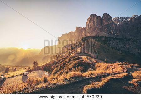Dolomites, Italy Landscape At Passo Gardena.