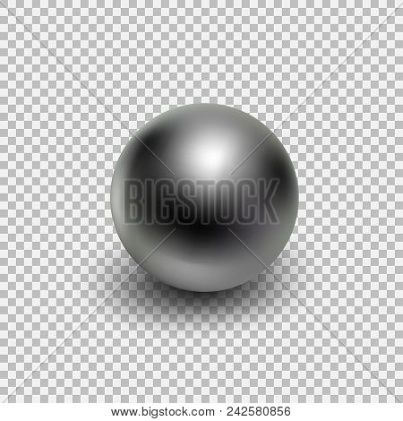 Chrome Metal Ball Realistic Isolated On Transparent Background. Spherical 3d Orb With Transparent Gl