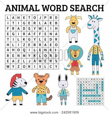 Learn English With An Animal Word Search Game For Kids. Vector Illustration.