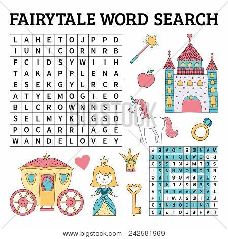 Fairytale Word Search Game For Kids. Vector Illustration For Learning English