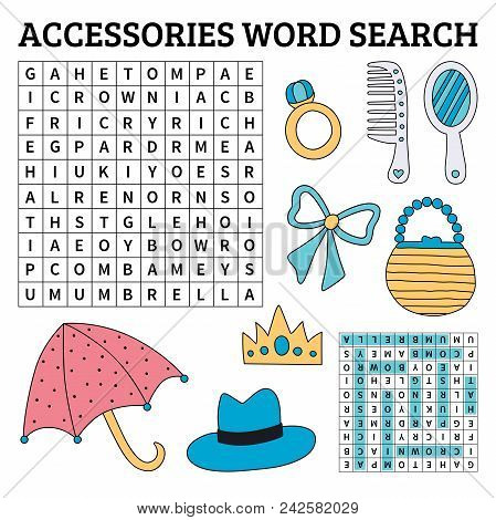Accessories Word Search Game For Kids. Vector Illustration For Learning English