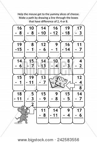 Math Maze With Subtraction Facts: Help The Mouse Get To The Yummy Slices Of Cheese. Make A Path By D