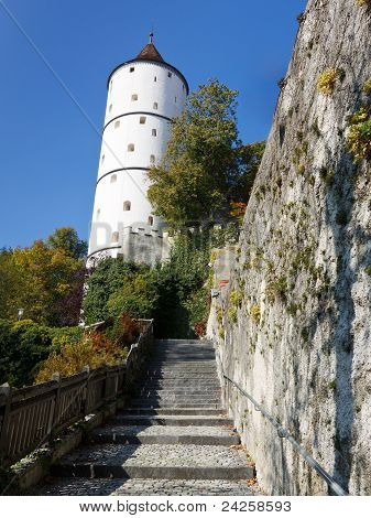 The medieval town wall and Weisser Turm (White Tower) of Biberach Germany poster