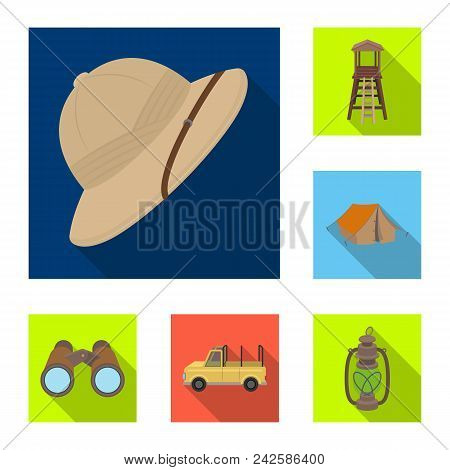African Safari Flat Icons In Set Collection For Design. Trophies And Equipment For Safari Vector Sym