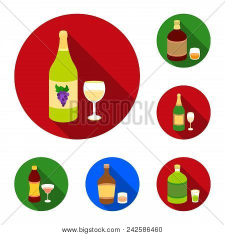 Types Of Alcohol Flat Icons In Set Collection For Design. Alcohol In Bottles Vector Symbol Stock  Il
