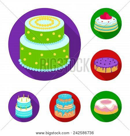 Cake And Dessert Flat Icons In Set Collection For Design. Holiday Cake Vector Symbol Stock  Illustra