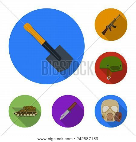 Army And Armament Flat Icons In Set Collection For Design. Weapons And Equipment Vector Symbol Stock
