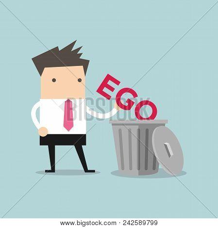 Businessman Throw His Ego Into The Trash Vector