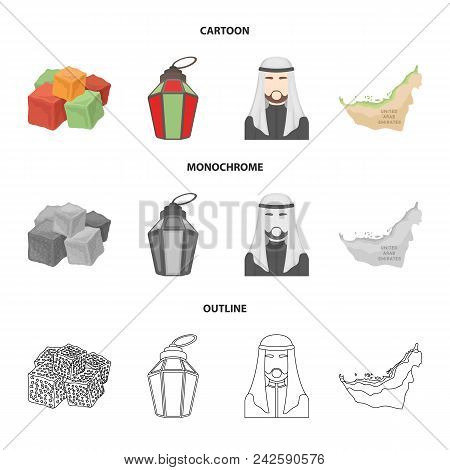Eastern Sweets, Ramadan Lamp, Arab Sheikh, Territory.arab Emirates Set Collection Icons In Cartoon,