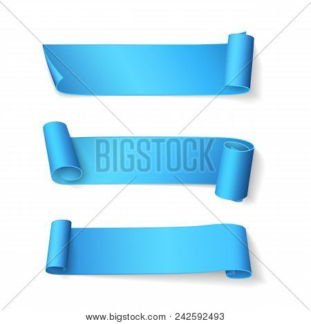 Set Of Short Curved Shiny Blue Ribbons. Vector Realistic Elements For Sale Banners And Promotional D