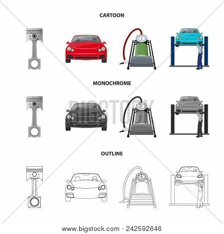 Car On Lift, Piston And Pump Cartoon, Outline, Monochrome Icons In Set Collection For Design.car Mai