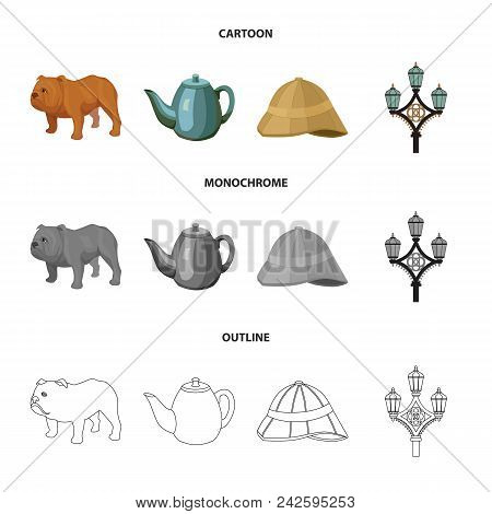 Breed Dog, Teapot, Brewer .england Country Set Collection Icons In Cartoon, Outline, Monochrome Styl