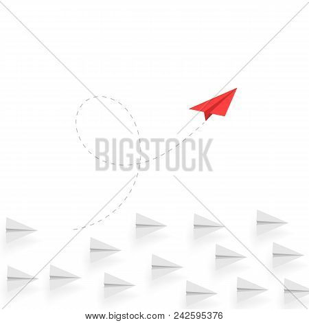 Creative Thinking. Red Paper Airplane Move Different Way. Creative Business Concept. Unique Idea. In