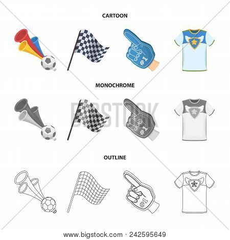 Pipe, Uniform And Other Attributes Of The Fans.fans Set Collection Icons In Cartoon, Outline, Monoch