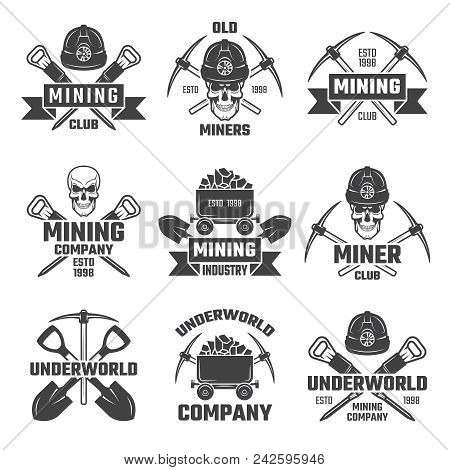 Mineral And Gold Mining. Vector Emblems Mine Industrial Of Set Illustration