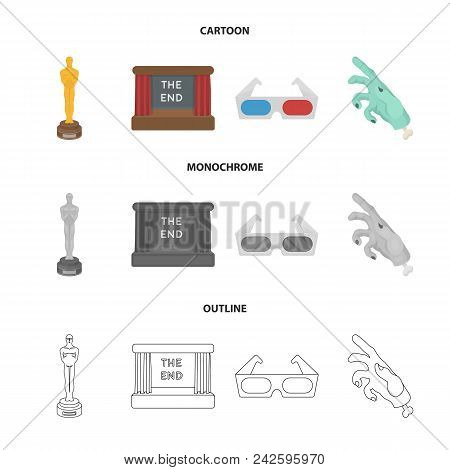 Award Oscar, Movie Screen, 3d Glasses. Films And Film Set Collection Icons In Cartoon, Outline, Mono