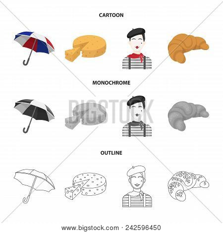 Umbrella, Traditional, Cheese, Mime .france Country Set Collection Icons In Cartoon, Outline, Monoch