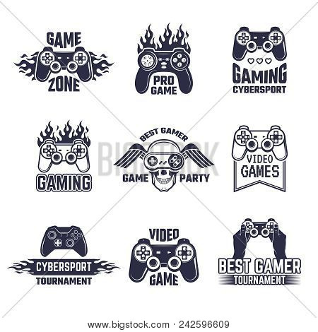 Cyber sport badges and labels. Pictures for gamers. Console and joystick. Vector of game zone for play with controller video illustration poster
