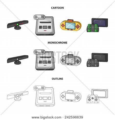 Game And Tv Set-top Box Cartoon, Outline, Monochrome Icons In Set Collection For Design.game Gadgets