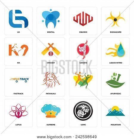 Set Of 16 Simple Editable Icons Such As Mountain, Usmc, Supreme, Lotus, Ayurvedic, Lg, K9, Fastrack,