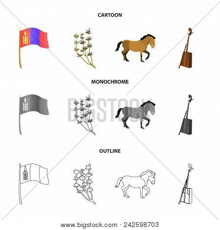 National Flag, Horse, Musical Instrument, Steppe Plant. Mongolia Set Collection Icons In Cartoon, Ou