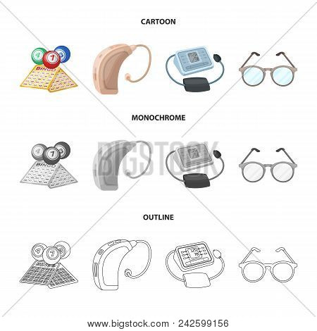 Lottery, Hearing Aid, Tonometer, Glasses.old Age Set Collection Icons In Cartoon, Outline, Monochrom