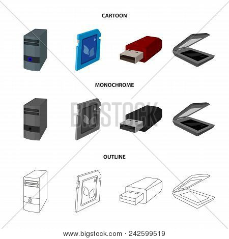 A System Unit, A Flash Drive, A Scanner And A Sd Card. Personal Computer Set Collection Icons In Car