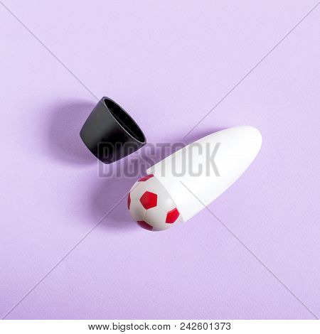 Roll-on deodorant antiperspirant with soccer ball instead of roller. Creative idea, imagination and fantasy. Minimal style. Original concept of sports cosmetics for football championship poster