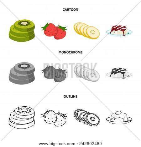 Fruits And Other Food. Food Set Collection Icons In Cartoon, Outline, Monochrome Style Vector Symbol