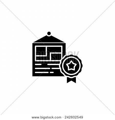Diploma Black Icon Concept. Diploma Flat  Vector Website Sign, Symbol, Illustration.