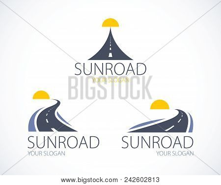 The Roads To The Setting Sun, Curved Highways Vector Perfect Design Illustrations Or Logo Set. Campi