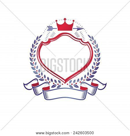 Graphic Emblem Composed Using Majestic Crown And Lance. Heraldic Coat Of Arms Decorative Logo Isolat