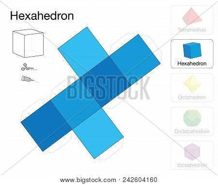 Hexahedron Platonic Solid Template. Paper Model Of A Cube, One Of Five Platonic Solids, To Make A Th