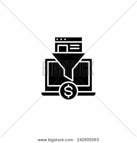 E-commerce System Black Icon Concept. E-commerce System Flat  Vector Website Sign, Symbol, Illustrat