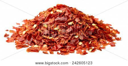 Dried Red Pepper Flakes Isolated On White Background