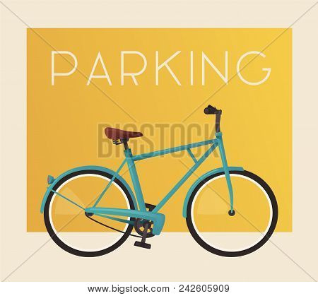 Bike Parking Bicycle Sign For Web Or Print Cartoon Vector Ilration Geolocation Of Poster Banner Template Point Tourists City Visitors