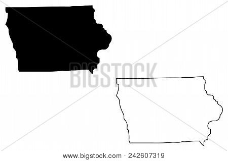 Iowa Map Vector Illustration, Scribble Sketch Iowa Map