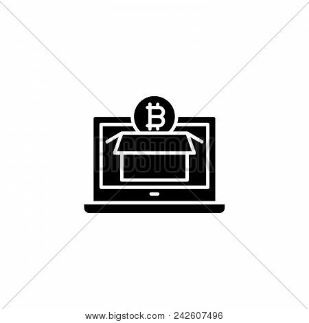 Exploring Bitcoin Market Black Icon Concept. Exploring Bitcoin Market Flat  Vector Website Sign, Sym