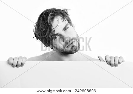 Bearded man, short beard. Caucasian sexy topless young macho with stylish beard and moustache holding light-green plank on white background poster