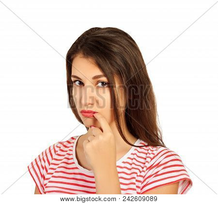 embarrassed young woman laughs look at the camera. emotional girl isolated on white background. poster