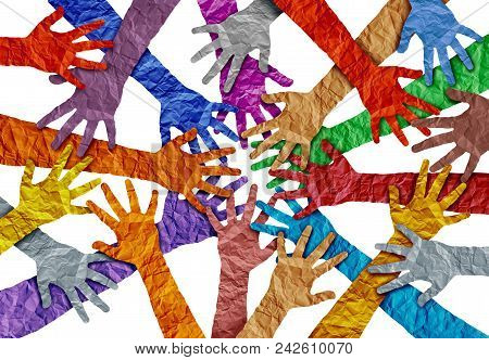 Concept Of Diversity And Crowd Cooperation Symbol As Diverse Hands Holding Together In A 3d Illustra